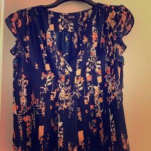 Blu & orange cap sleeve flowered blouse